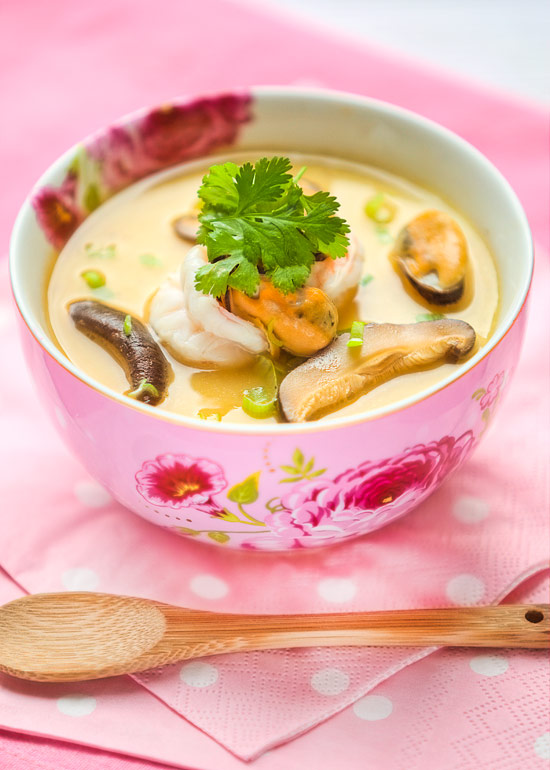 steamed egg with seafood sauce