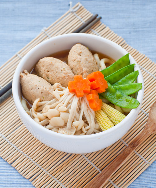 chicken meatball soup with udon noodle soup