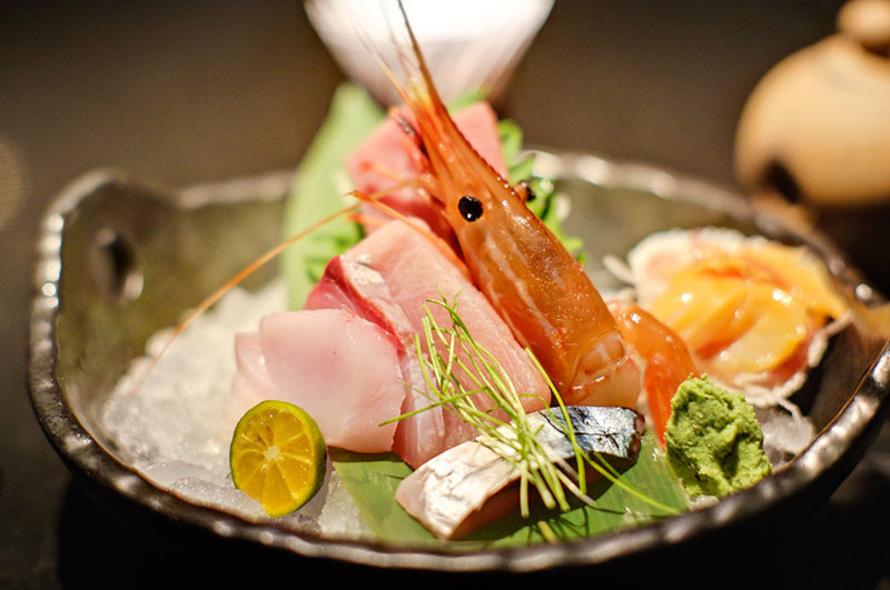 Spot Prawn and tuna belly sashimi