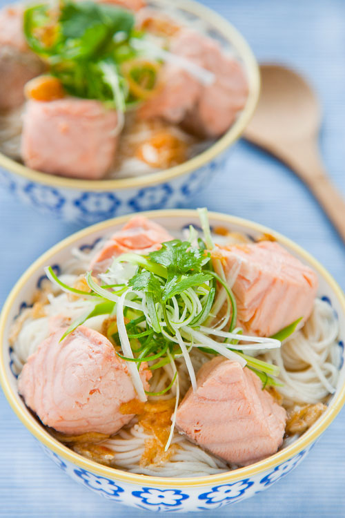 salmon rice noodle soup